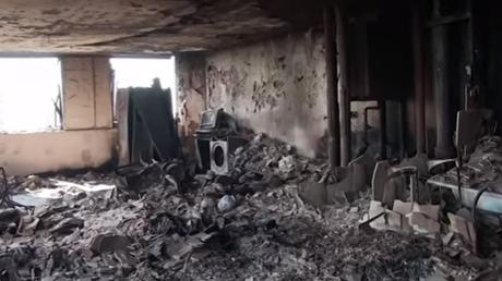 Συγκλονιστικό βίντεο από το εσωτερικό του Πύργου Γκρένφελ – Στάχτη και αποκαΐδια (vid)