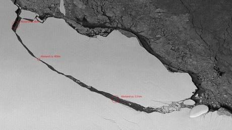 Το παγόβουνο Α-68 ετοιμάζεται για «κρουαζιέρα» στον Ατλαντικό (Vid)