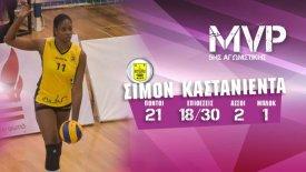 Η Σιμόν Καστανιέντα MVP της 5ης αγωνιστικής στη Volley League γυναικών