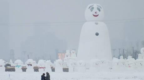 Μια διαφορετική έκθεση γλυπτικής: 2.018 χιονάνθρωποι σε θεματικό πάρκο της Κίνας  (pics)