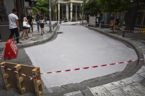 Λευκός δρόμος στην Αθήνα με προβλήματα
