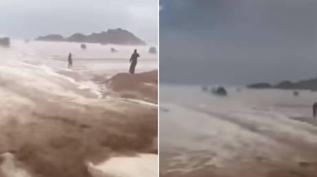 Πρωτοφανής κακοκαιρία στη Σαουδική Αραβία  – Πλημμύρισε ακόμη και η έρημος (vids)
