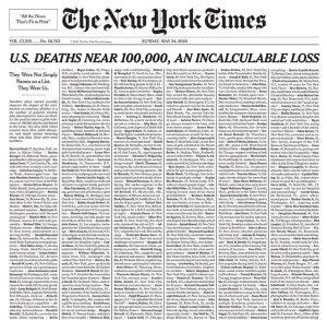«Δεν ήταν απλώς ονόματα… Ήταν εμείς»: Το πρωτοσέλιδο των NYT για τα θύματα του κοροναϊού
