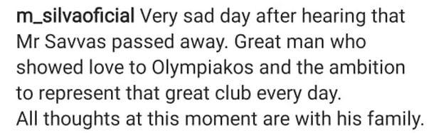 Μάρκο Σίλβα για Σάββα Θεοδωρίδη : «Σπουδαίος άνθρωπος που έδειξε αγάπη στον Ολυμπιακό»