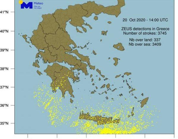 Οι κεραυνοί «σάρωσαν» την Ελλάδα – Έντονα καιρικά φαινόμενα και την Τετάρτη