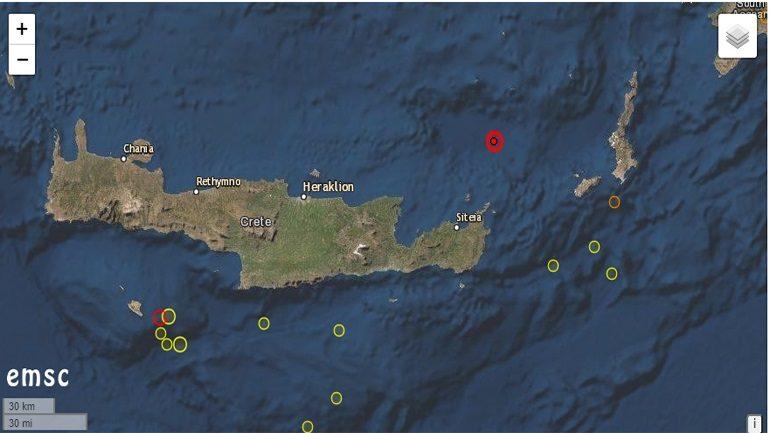 Ισχυρός σεισμός 5,1 Ρίχτερ βόρεια της Κρήτης – Μεγάλη ακολουθία μετασεισμών