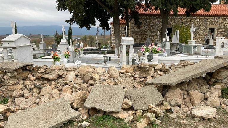 Ζημιές σε νεκροταφείο προκάλεσε ο σεισμός των 4,4 Ρίχτερ στη Θήβα