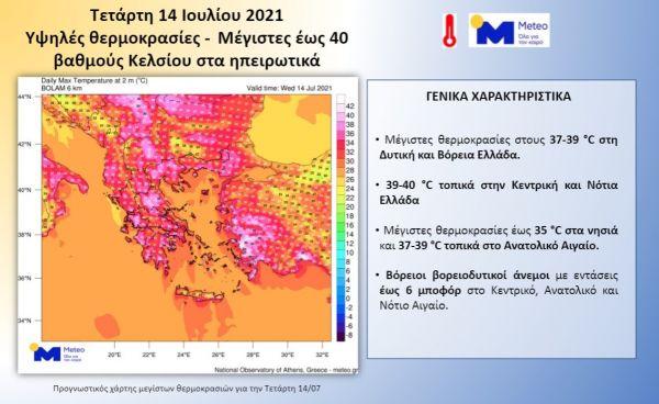 Καιρός: 40αρια θα δείξει σήμερα το θερμόμετρο – Υποχωρεί ο καύσωνας από το Σάββατο